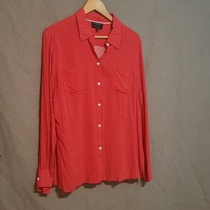 Foxcroft button up red polka dot blouse